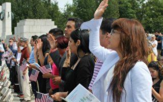 美国家公园管理局百岁  新公民二战纪念碑宣誓入籍