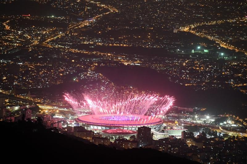 里約奧運開幕式煙火璀璨