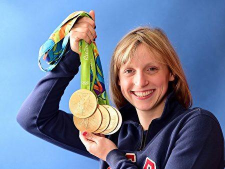 美国游泳健将姬蒂•雷德基(Katie Ledecky)。(Harry How/Getty Images)