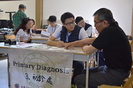 台湾中医服务队抵温,图为中国医药大学同学在进行初诊。(邱晨/大纪元)