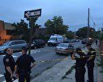 案發現場附近的四個街區,被警察封鎖。 (施萍/大紀元)