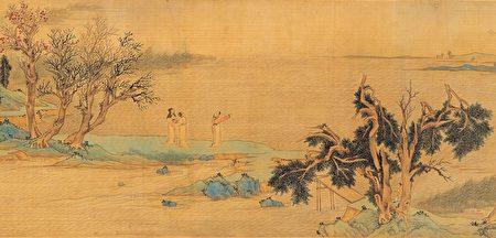明文徵明《仿赵伯骕后赤壁图》卷(局部)描绘苏轼与友人游赤壁的情景,绢本,台北国立故宫博物院藏。(公有领域)