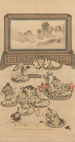[日]谷文晁 (1763–1840) 繪〈飲中八仙圖〉軸,絹本淺絳,美國大都會藝術博物館館藏。(公有領域)