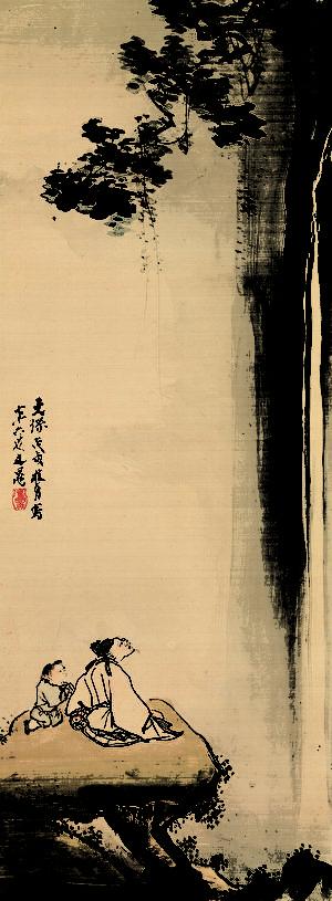 [日]谷文晁 (1763–1840) 繪〈李白觀瀑圖〉軸。(公有領域)
