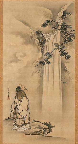 [日]狩野正信(1653–1718)繪〈李白觀瀑圖〉軸,絹本水墨,美國波士頓美術館藏。(公有領域)