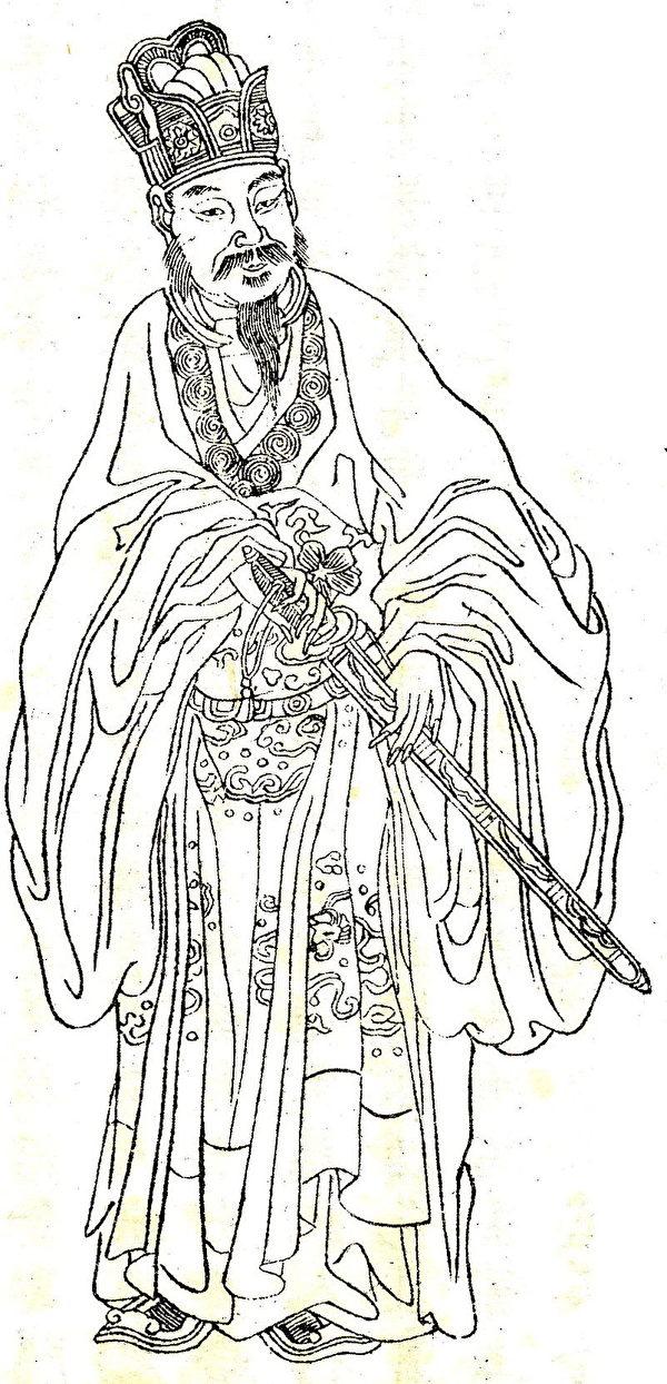 《晚笑堂竹莊畫傳》東方朔畫像(公有領域)