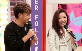 KID(左)搭檔愷樂(右)主持新節目,KID的女友許維恩(左二)帶姊姊(右二)上節目。(中天提供)