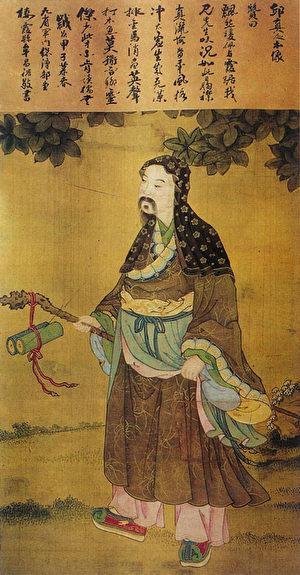 北京白雲觀藏丘真人(丘處機)本像圖。(公有領域)