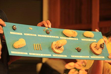 賴明彬先生引導大家用種子 絲瓜 漂流木等自然素材做 笑笑羊。(謝月琴/大紀元)