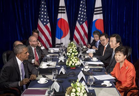 US President Barack Obama and South Korean President Park Geun-hye hold a meeting in Vientiane, Laos, September 6, 2016. Obama became the first US president to visit Laos in office, touching down in Vientiane late on September 5 for a summit of East and South East Asian leaders. / AFP / SAUL LOEB (Photo credit should read SAUL LOEB/AFP/Getty Images)