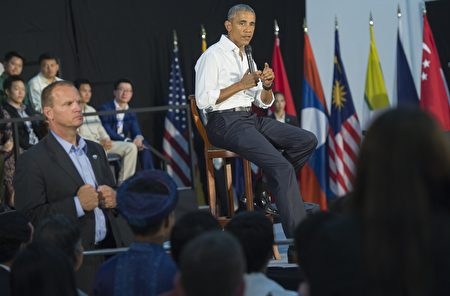 US President Barack Obama holds a Young Southeast Asian Leaders Initiative (YSEALI) town hall meeting at Souphanouvong University Auditorium in Luang Prabang on September 7, 2016. Obama became the first US president to visit Laos in office, touching down in Vientiane late on September 5 for a summit of East and South East Asian leaders. / AFP / SAUL LOEB (Photo credit should read SAUL LOEB/AFP/Getty Images)
