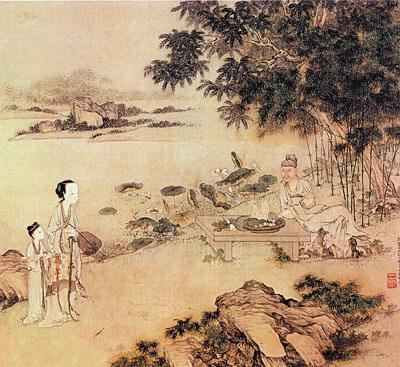 品茶需水甘、器潔、天氣好以及共同品茶的客人也要投緣,再加上新茶,才可達到品茶的高境界。(公有領域)