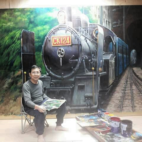 魏荣欣画的火车头写实逼真。(魏荣欣提供)