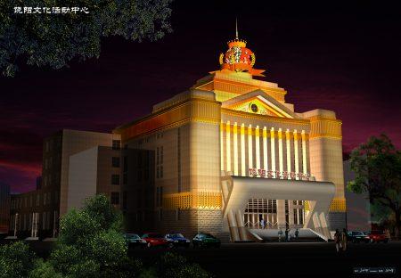 張澤設計作品——饒陽影院夜景。