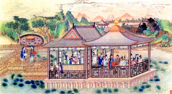賈母在大觀園設宴,也請了劉姥姥進去熱鬧、熱鬧。圖為清 孫溫繪製《紅樓夢》圖畫。(公有領域)