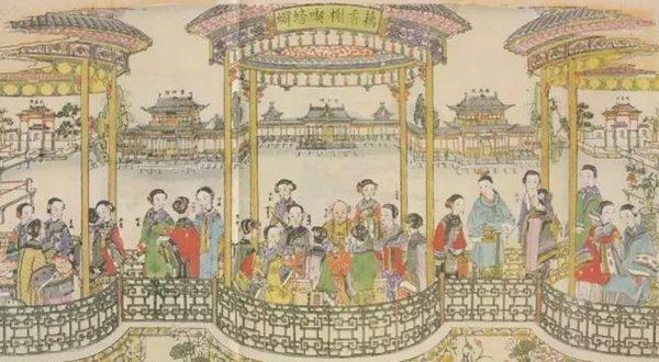 晚清楊柳青紅樓夢年畫《藕香榭喫螃蟹》。(公有領域)