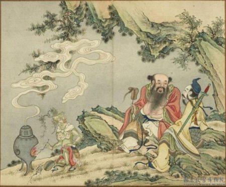 〈呂洞賓漢鍾離二仙歡會〉,出《歡聯慶節》冊,台北國立故宮博物院藏。(公有領域)