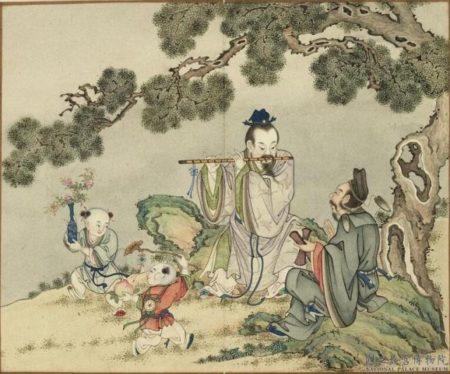 〈韓湘子曹國舅二仙會樂〉,出《歡聯慶節》冊,台北國立故宮博物院藏。(公有領域)