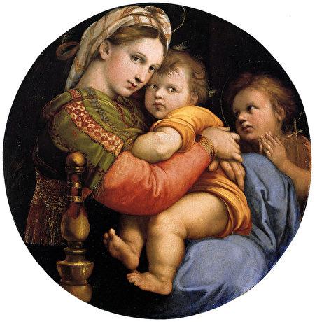 拉斐爾 « La Vierge à la chaise »(《椅中聖母》),油畫於木板,作於1513-1514年。(公有領域)