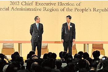 有分析认为,香港局势越混乱,越有利梁振英寻求连任。图为2012年特首选举。(大纪元资料图片)