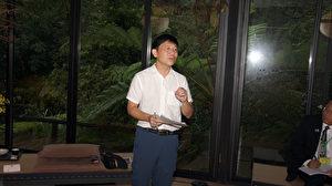 台灣聯合新聞網總編輯張立在媒體座談會上演講。(倪爾森/新唐人)