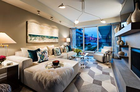 建筑由Handel建筑师设计,大面玻璃、私人阳台/露台,让住户在家即可饱览哈德逊河和曼哈顿美景。(Lennar公司提供)