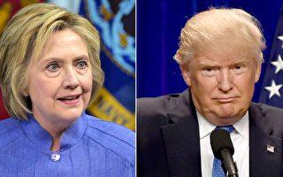 3日公布的民调显示,在美国总统大选首场辩论后,希拉里在全美对川普的领先优势扩大。与此同时,若干传统上兵家必争之州选情紧绷。(Getty Images/大纪元合成图)
