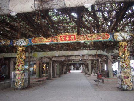 公庙上的树棚全来自于一株古榕。(张原彰/大纪元)