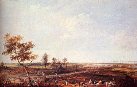 1781年10月19日,法國羅尚博將軍在約克鎮接受英國軍隊投降(Rochambeau recevant la reddition des troupes anglaises à Yorktown, 19 octobre 1781)。(維基公共領域)