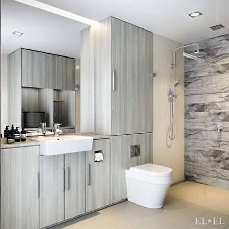 珀斯公寓The Crest Burswood的廁所,設計出有如酒店的效果。圖為設計效果圖(Norup + Wilson提供)
