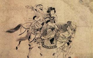 示意图:金 宫素然《明妃出塞图卷》(局部),纸本水墨,日本大阪市立美术馆藏。(公有领域)