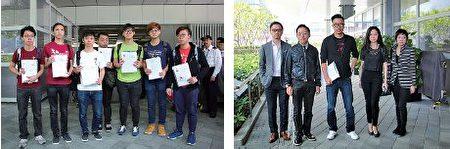 (左)「學界同盟2017」由7人組成,是首次有大學生合組名單參選高教界。( 蔡雯文/大紀元) (右)龔耀輝夥拍4人參加會計界選委,他希望與民主派另外兩張「反梁」名單一起全數當選。(蔡雯文/大紀元)