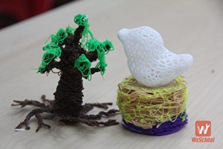 「3D列印藝術課程」,右為小夜燈,左為樹木公仔。(維創工坊提供)