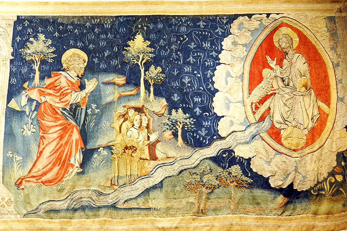 《啟示錄》第六組掛毯中描述的:一道生命水的河,明亮如水晶,從神的寶座流出來。在河的兩邊有生命樹,生產十二樣果子,每月結新果,樹上的葉子醫治萬民。不再有黑夜,因神來做光照。神所救贖的人要做王,直到永永遠遠。(維基公共領域)