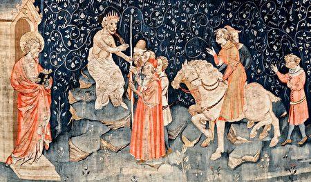 《启示录》第四组挂毯中描述的:兽又叫众人,无论大小贫富,自主的为奴的,都在右手上,或在额上,受一个印记。除了那受印记,有了兽名,或有兽名数目的,都不得作买卖。(维基公共领域)
