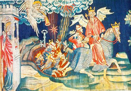 """《启示录》第二组挂毯中描述的:""""七天使吹七号""""浩劫之第五号,一颗星(代表撒但)坠落,赐给他钥匙开启无底坑,有蝗虫从坑里烟中飞出,要伤害额上没有神印记的人,并有无底坑的使者作害虫的王。(维基公共领域)"""