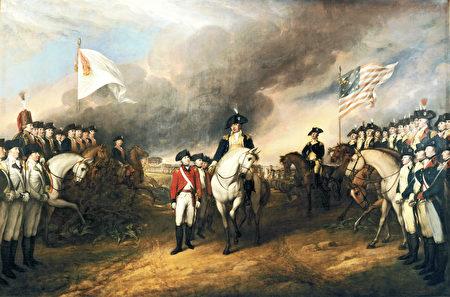 《康沃利斯投降》(Surrender of Lord Cornwallis),John Trumbull1820年繪,描繪了英國投降法軍(左)和美軍(右)。(維基公共領域)