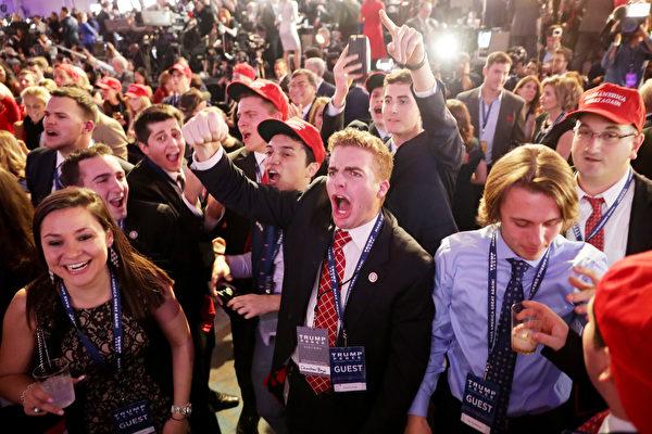 特朗普一路領先希拉莉 兩人慶祝地氣氛兩樣情