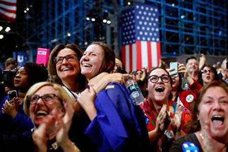 11月8日紐約,選民在民主黨大選夜慶祝現場,看到希拉里得票提升後,歡呼雀躍。(Win McNamee/Getty Images)