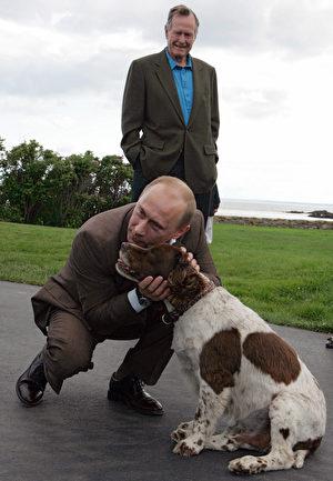 俄罗斯总统普京拜访前总统布什时拥抱他的爱犬。(MIKHAIL KLIMENTYEV/AFP/Getty Images)