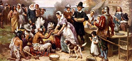 油画《第一次感恩节》(Jean Louis Gerome Ferris,1899)(维基公共领域)
