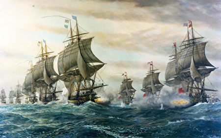 1781年9月5日維吉尼亞切薩皮克灣,法國戰列艦和英國戰列艦正在交戰,此役法軍取得戰略勝利。(維基公共領域)