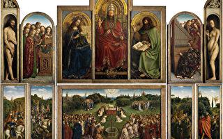 凡.艾克兄弟的《根特祭壇畫—神秘的羔羊》(«Retable de l'Agneau Mystique»),作於1415年—1432年,整幅祭壇畫約343×440厘米,題材取自聖經《啟示錄》,表達了對神在末世時慈悲救度眾生的讚頌。畫中樹脂油多層罩染技法的出色運用與靜謐精細的寫實風格讓此畫成為油畫史上最為重要的傑作之一。(維基公共領域)