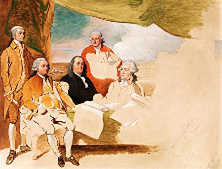 1783年巴黎條約,從左至右分別是約翰.傑伊(John Jay),約翰.亞當斯(John Adams),本杰明.富蘭克林(Benjamin Franklin),亨利.勞倫斯(Henry Laurens),威廉.坦普爾.富蘭克林(William Temple Franklin)。英方代表拒絕被畫入。(維基公共領域)