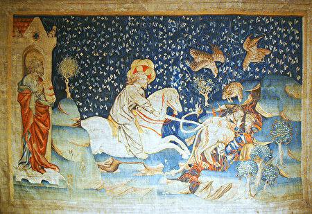《启示录》第六组挂毯中描述的:兽和受其迷惑被打上兽印的人被万王之王擒拿,扔在烧着硫磺的火湖,飞鸟都吃饱了他们的肉。(维基公共领域)