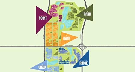 Cornerstone社区五大子社区一栏图,依据各自地理特点命名和设计(开发商Walton提供)。