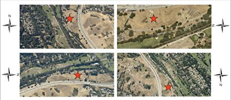 快樂谷(Happy Valley)這塊待售土地從各角度的空拍圖。(東灣房地產經紀黃淑儀Megan Wong提供)
