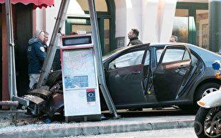 轿车撞歪旧金山唐人街公车站台 10人受伤