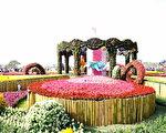 """首度移师后里花田绿廊举办的""""2016台中国际花毯节"""",以""""花现新乐园""""为主题,打造立体互动花卉装置及巨型花卉旋转木马。(台中市政府提供)"""