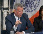 紐約市長白思豪重申對移民的態度。 (韓瑞/大紀元)
